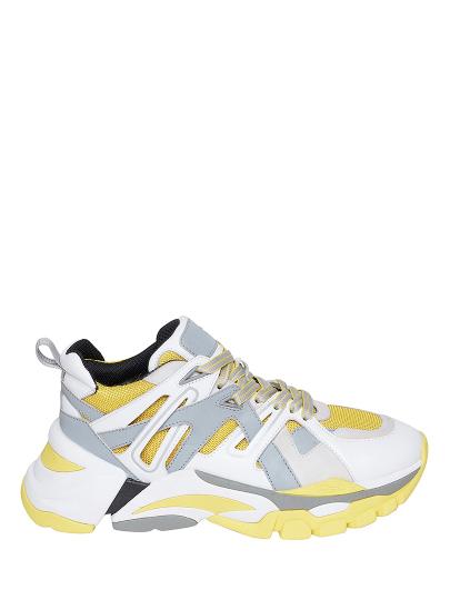 Женские демисезонные кроссовки ash flash ss19-s-127874-001,кроссовки женские,кожа/текстиль/нубук белый/желтый/серый серые | 9ah.ah75869.т купить в официальном магазине AshRussia.ru
